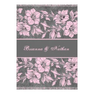Pink & Gray Vintage Brocade Wedding Invitation