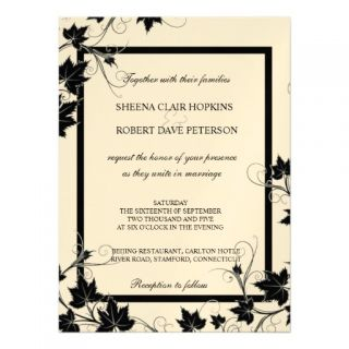 Black and White Swirls Leaves Modern Fall Wedding Personalized