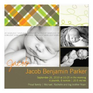 Retro Orange Brown Checks Birth Announcement