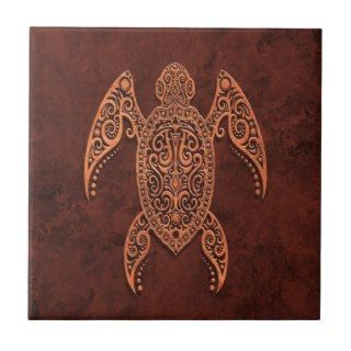 Intricate Brown Stone Sea Turtle Tile