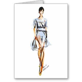 Fashion Illustration  Chloe Pastel Chiffon Dress Greeting Cards