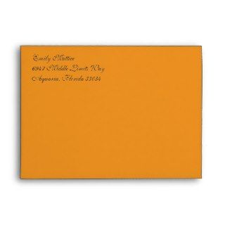 Fancy Script Orange A7 Return Address Envelopes