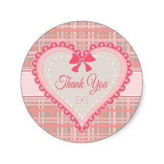 Thank You Heart Pink & Gray Plaid Pattern Stickers