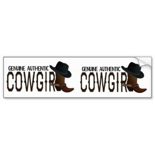Genuine Authentic COWGIRL Boot & Hat Bumper Sticker