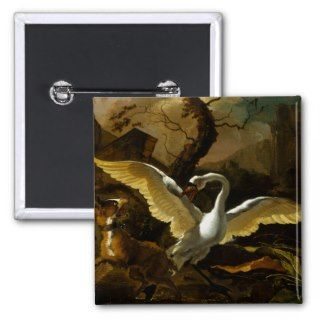 Swan Enraged by Dogs painting by Abraham Hondius Button