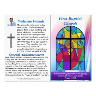 Customizable Weekly Church Bulletin (Inside Blank) Letterhead Design
