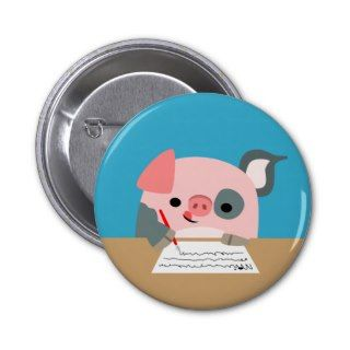 Cute Cartoon Writing Pig Women Button Badge