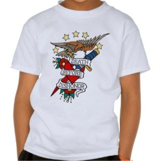 DEATH BEFORE DISHONOR VINTAGE TATTOO ART PRINT TEE SHIRT