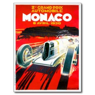 Monaco Grand Prix Race~ Vintage Automobile Ad Postcard