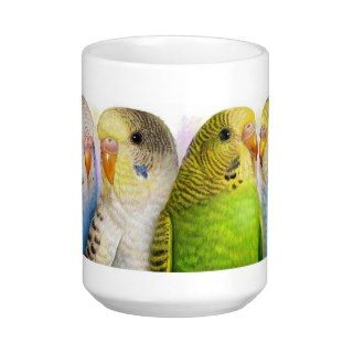 Four budgerigars mugs