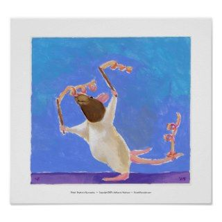 Rat art fun ribbon dancing   Rhythmic Gymnastics Print
