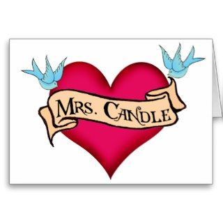 mrs candle custom heart banner tattoo gifts featuring the name mrs