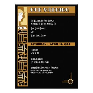 Art Deco Wedding Invitation  Black  Large