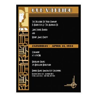 Art Deco Wedding Invitation  Black  Small
