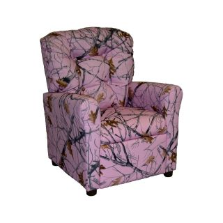 Brazil Furniture 4 Button Back Child Recliner   True West Pink Camo