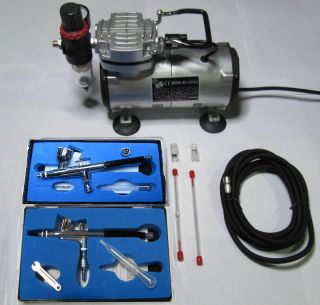 Airbrush Kit Airbrush Compressor Air Brush Compressor with 2 Airbrushes