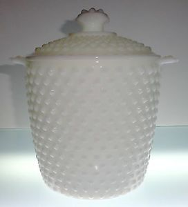 Anchor Hocking Hobnail White Milk Glass Cookie Jar Canister