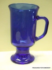 Cobalt Blue Glass Anchor Hocking Footed Irish Coffee Mug