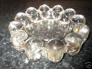 """Vintage Anchor Hocking Clear Boopie Candlewick Glass Ashtray 5"""" Diameter"""