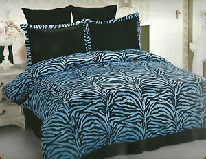 5pc Bed in A Bag Comforter Set Black and Turquoise Zebra Print Queen Size S07