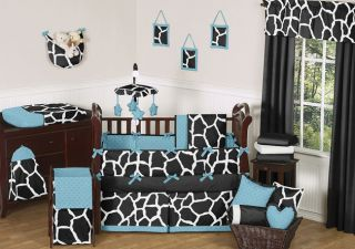 Black Blue White Giraffe Animal Print Boy Girl Baby Bedding Crib Set Made in USA