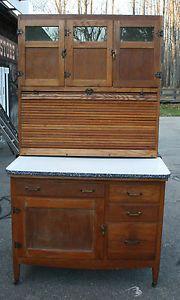 Antique Oak Auto Front Hoosier Cabinet Cupboard Tambour Glass Doors