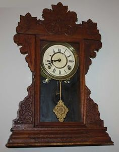 Antique Gingerbread Kitchen Mantel Clock Key Wound Running w Key and Pendulum