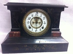 Gorgeous Antique Ansonia Mantle Pendulum 8 Day Clock Black Gold Brass Marble