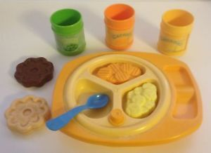 Vintage 1987 Fisher Price Fun with Food Play Kitchen Baby Feeding Set
