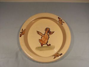 Antique Weller Pottery Duck Baby Feeding Dish Excellent