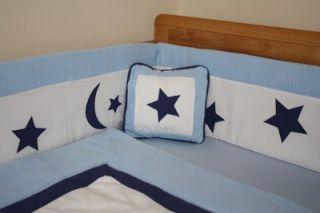 New 7pcs Blue Baby Bedding Set Cotbed Cot Nursery Stars Moon Quilt Bumper