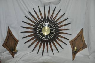 1960 Mid Century Mod 3 PC Syroco Wall Clock 8 Day Sconce Set Atomic Starburst