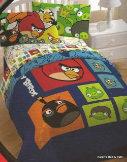 Angry Birds Collage Boy Twin Full Bedding Comforter Sheets Pillow Drapes Throw