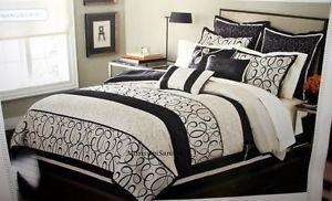 Martha Stewart Manuscript Full 9pc Comforter Set Beige Cream Black Taupe Bed Bag