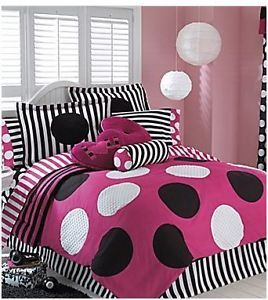 Full Double Size Pink Black Dots Comforter Sheets Girl Teen Modern Bed in A Bag
