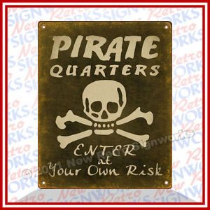 Pirate Boys Bedroom Door Sign Jolly Roger Vintage Art