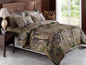 7pcs Sierra Brown Woods Camo Hunter Bed in A Bag Comforter Set with Sheets Queen