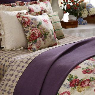 Ralph Lauren Surrey Garden Purple Full Queen Bed Blanket