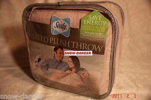 Sealy Electric Heated Throw Blanket Micro Plush Blanket Throw Linen Shiny