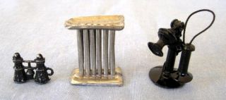 Vintage Mini Dollhouse Miniature Accessories Candle Mold Binoculars Telephone