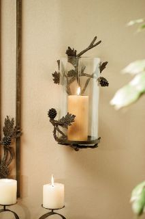 Brass Glass Pine Cone Rustic Pillar Candle Holder Wall