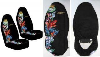 Ed Hardy Koi Fish Front Seat Covers Set 2pc