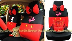 New Disney Mickey Minnie Mouse Car Seat Covers Accessories Set 18pcs M016