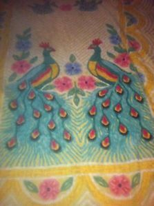 Vintage Chenille Bedspread Full Double Peacock Bright Colors Nice