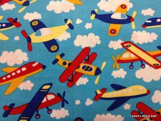 Airplane Plane Aviation Aircraft Blue Sky Nursery Skinny Window Curtains Drapes