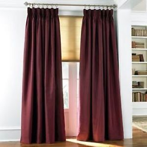 Chris Madden Mystique Interlined Drapes Royal Burgundy Pinch Pleated Curtains