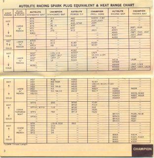 1965 Autolite Spark Plug Racing Heat Range Chart Book