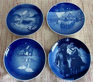 "Lot of 4 Cobalt Blue Christmas Plates 7"" Bing Grondahl Royal Copenhagen"