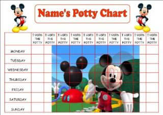 Personalised A4 Mickey Mouse Potty Toilet Reward Chart Stickers Certificate