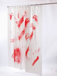 Blood Bloody Shower Curtain Scary Baths Psycho Hotel Crime Scene Halloween Prop